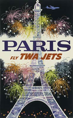 Paris Eiffel Tower vintage travel poster