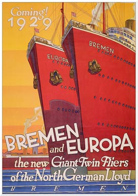 Bremen and Europa, coming 1929! Travel Poster