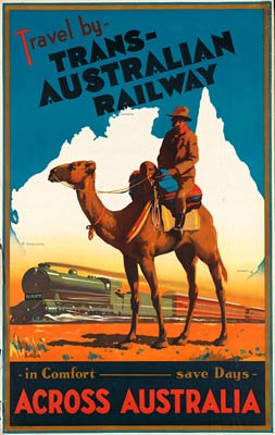 Travel by trans-Australian railway vintage poster