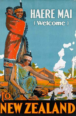 Welcome to New Zealand vintage tourist poster