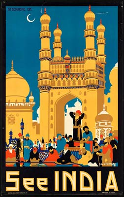 Indian vintage travel poster