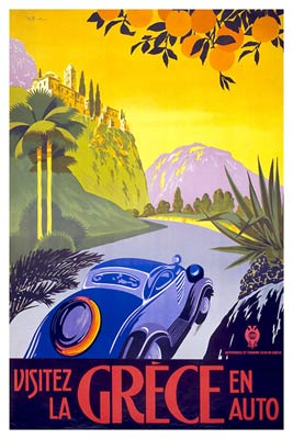 Visit Greece by Car French tourist poster