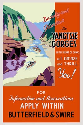 Yangtsze Gorges old travel poster