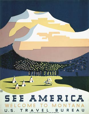 See America, Welcome to Montana travel poster 1937
