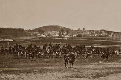 17th New York Battery Artillery Depot, soldiers, horses canons