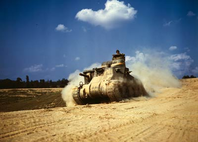 An M-3 tank in action, Fort Knox, Kentucky 1942