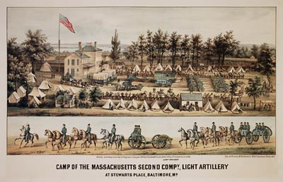 Camp of the Massachusetts second company, light artillery 1861