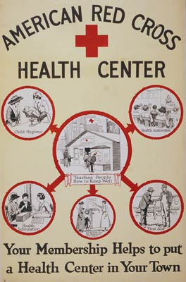 American Red Cross health center WWI world war one poster