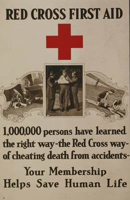 Red Cross first aid World War One Poster