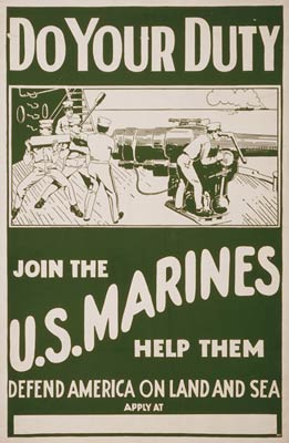Join the U.S. Marines Defend America WWI Poster