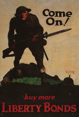 US soldier with bayonet over German soldier WWI Poster