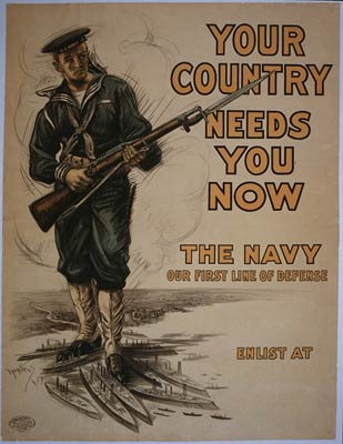 The Navy, our first line of defense - World War I Poster