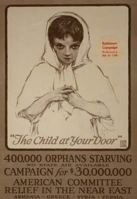 400,000 orphans starving - World War I Poster