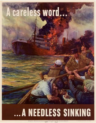 A careless word, a needless sinking, wwii poster