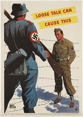 Loose talk can cause this. American WWII Poster