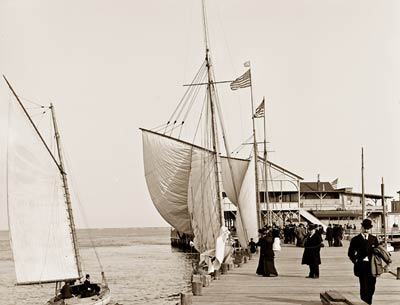 Pier Atlantic City, New Jersey. Albion Sailboat 1905