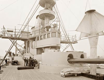 U.S.S. New York bridge and pilot house, 1899