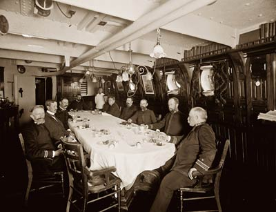 American military officers onboard U.S.S. Oregon battleship