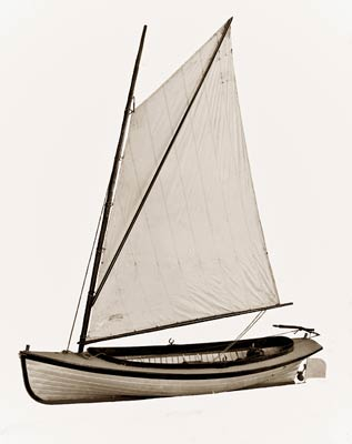 Sailboat - Sixteen-foot, combination power-sail launch 1900's