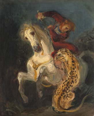 Eugene Delacroix Rider Attacked by a Jaguar