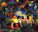 Landscape with Cows and a Camel August Macke