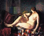Nude with Hexagonal Quilt by George Bellows