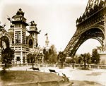 Pavilion of Bolivia and section of the Eiffel Tower, Paris Expos