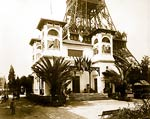 Pavilion of Monaco, with base of Eiffel Tower, Paris Exposition,