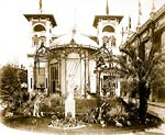 Pavilion of Monaco, with view of garden and statue, Paris Exposi