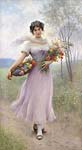Girl in a lilac coloured dress with bouquet of flowers