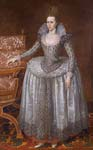Anne of Denmark (1574 1619), wearing a white farthingale dress a