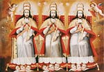 The Enthroned Trinity as Three Identical Figures