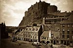 Edinburgh Castle from the Grass Market antique photograph
