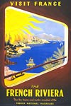 The French Riviera by Train Motor Coach Vintage travel poster