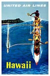 Vintage travel poster - Hawaii by United Air