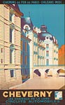 Cheverny Chateaux of the Loire travel poster, France