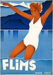 Flims Switzerland vintage travel poster