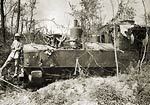 German Locomotive in the Somme damaged by French Shells