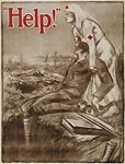 Red Cross recruitment poster. Wounded Soldier, WWI