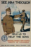 Knights of Columbus uniform Soldiers in Battle WWI Poster