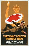 Liberty offering Red Cross shield to a wounded soldier. WWI Post