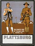 Minute men of to-day are going to Plattsburg WWI Poster
