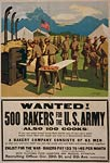 Wanted! 500 bakers for the U.S. Army World War I Poster