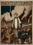 Knights of Columbus - priest, crucifix, soldiers WWI Poster
