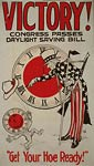Uncle Sam turning a clock - daylight saving - WWI Poster
