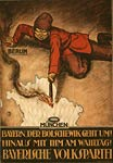Bolshevik setting fire to Bavaria. German WWI Poster