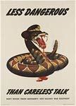 Poisonous snake less dangerous than careless talk WWI Poster