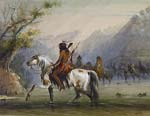 Shoshone Indians Fording a River
